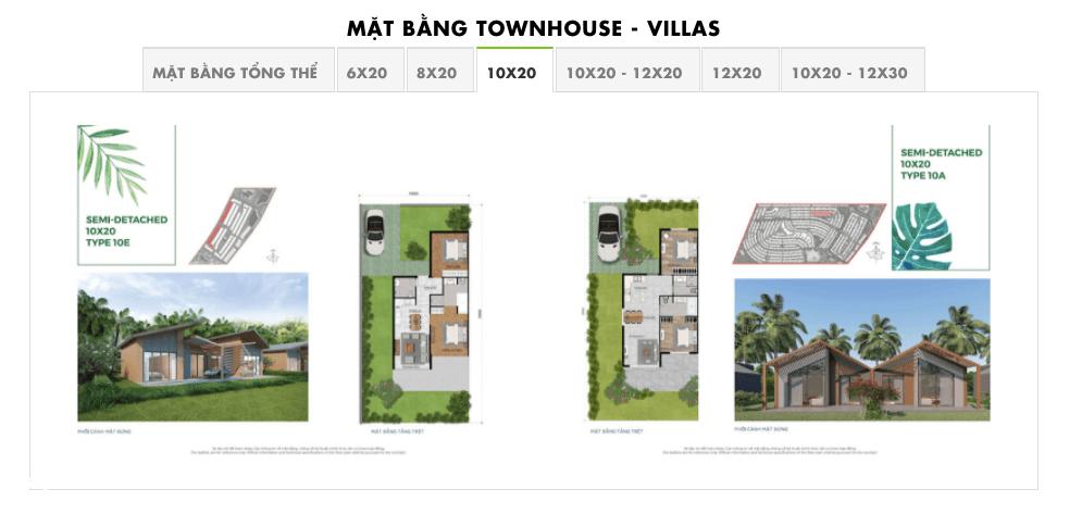 mặt bằng townhouse villas