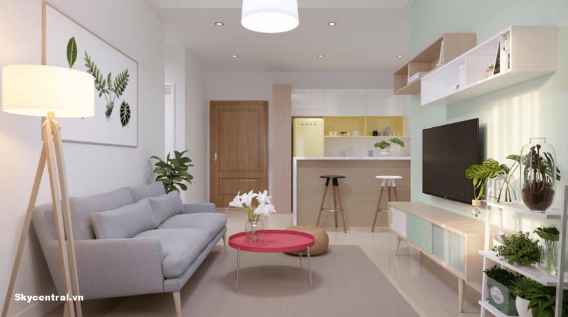 Thiết kế phòng khách nhỏ theo gam màu pastel