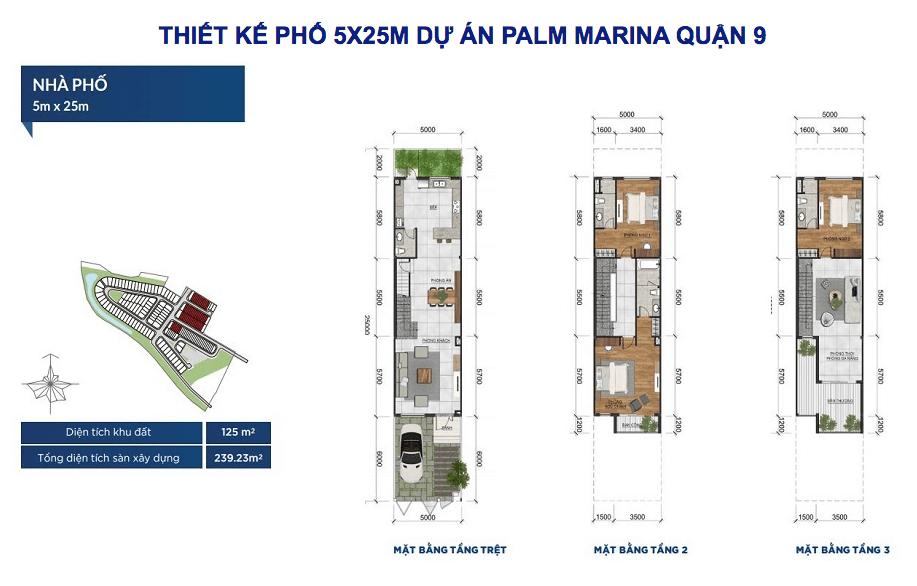 thiết kế nhà phố palm marina quận 9