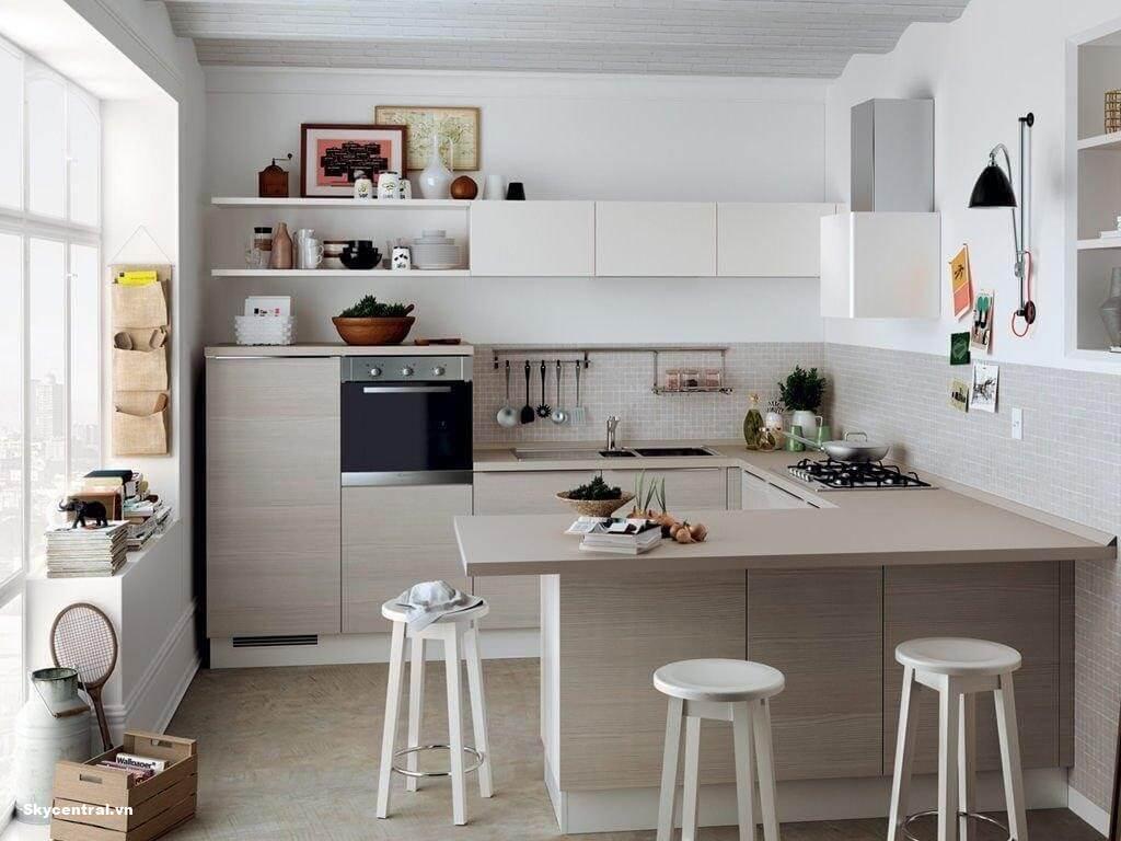 Hình ảnh phòng bếp được thiết kế với gam màu sáng.