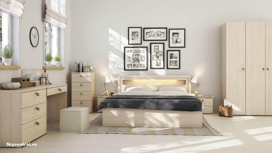 Bố trí nội thất trong phòng ngủ giúp không gian trở nên sáng hơn.