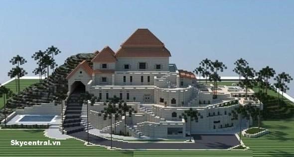 Vẻ đẹp bên ngoài của tòa lâu đài trong Minecraft.