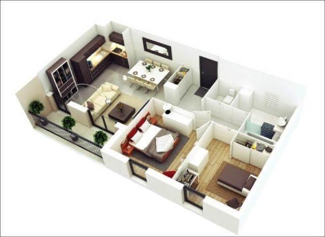 Thiết kế căn hộ chung cư 50m2 với mẫu chữ L.