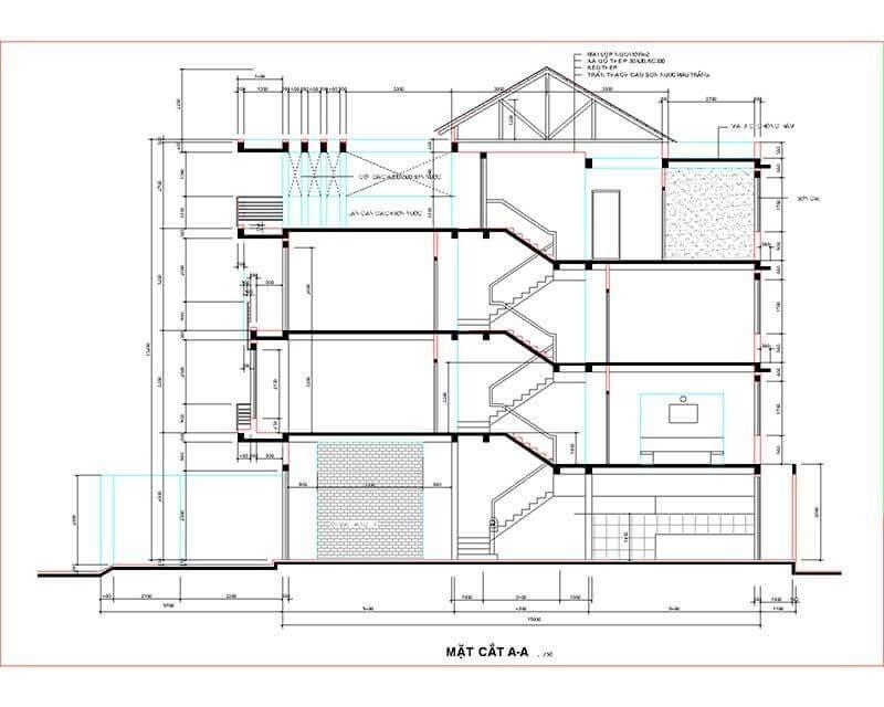 Một mẫu thiết kế nhà lệch tầng.
