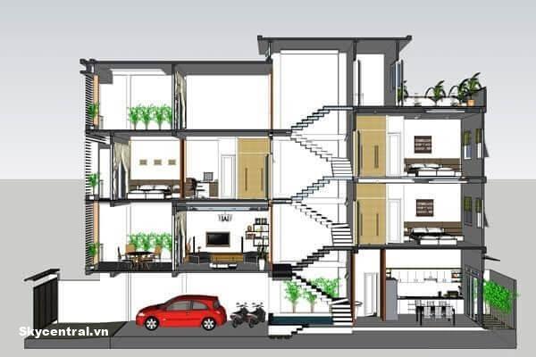Nhà lệch tầng thường có khoảng giữa dùng làm cầu thang.