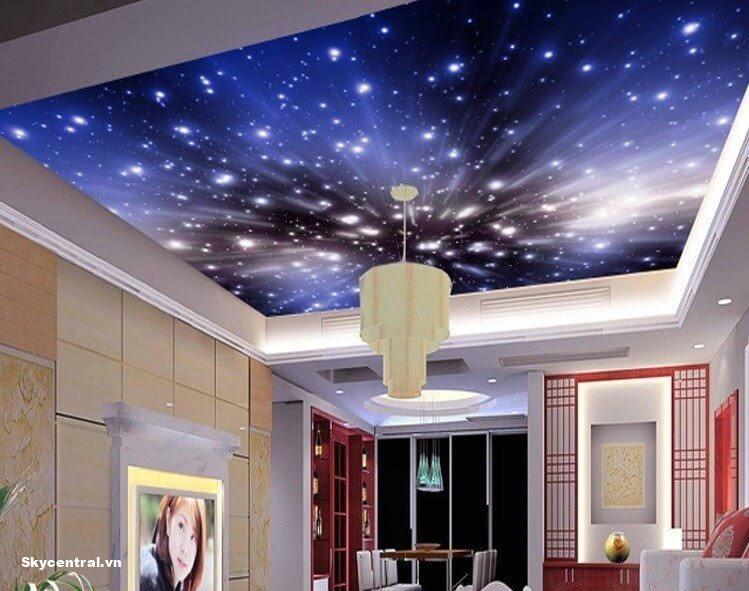 Trang trí trần bằng giấy dán tường đầy màu sắc