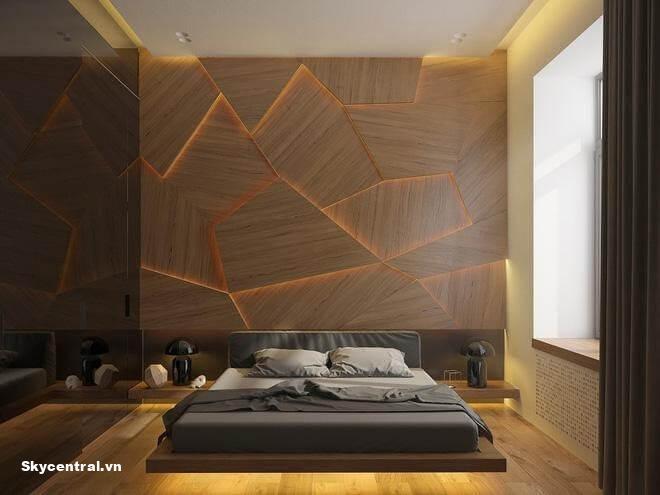 Trang trí vách đầu giường bằng hình khối 3D.