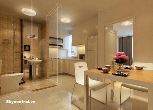 Sử dụng vách ngăn kính để ngăn nhà bếp và nhà vệ sinh.