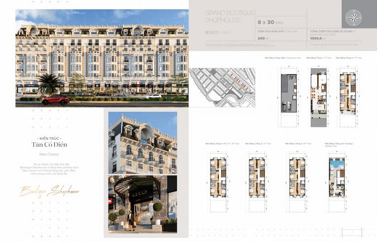 Thiết kế mặt bằng Grand Light Shophouse 8x30m