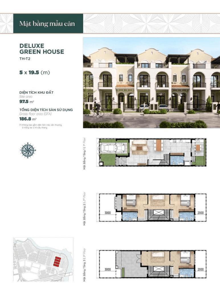 Thiết kế nhà phố liền kề căn bình thường 5x19.5m, diện tích sàn sử dụng 186.8 m²