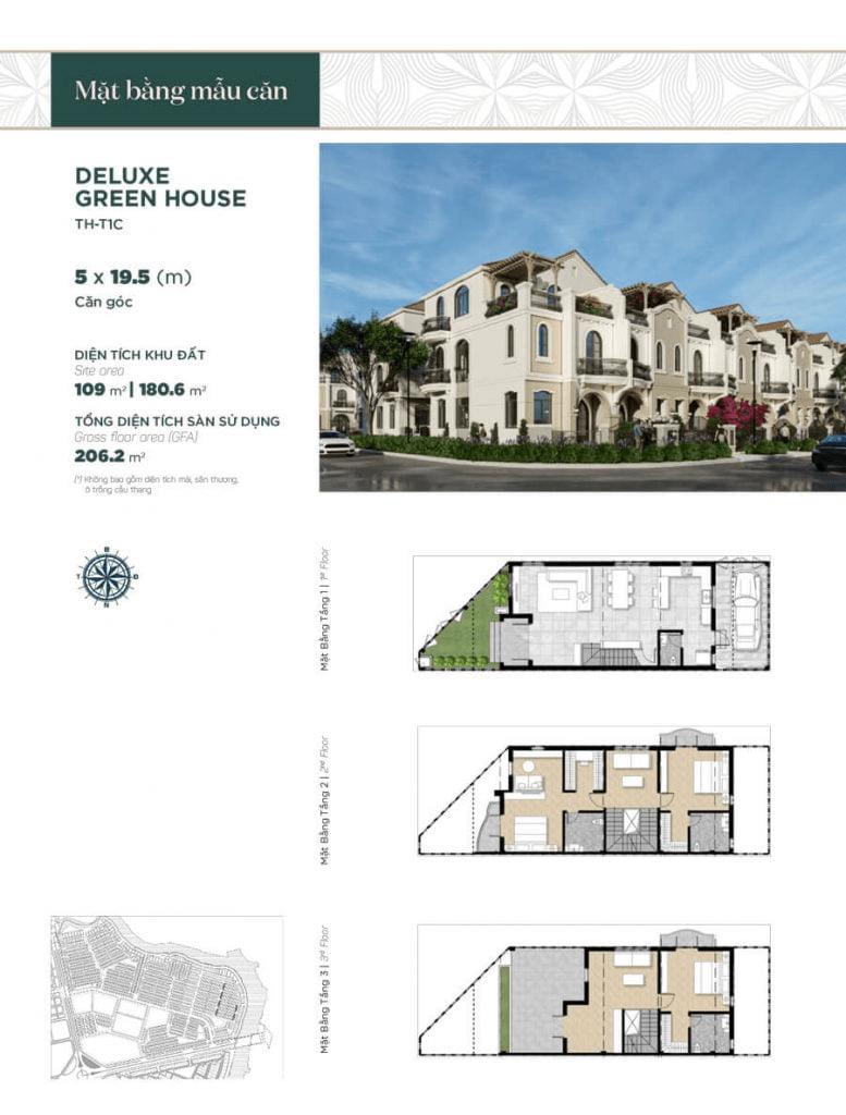 Thiết kế nhà phố liền kề căn góc 5x19.5m, diện tích sàn sử dụng 206.2 m²