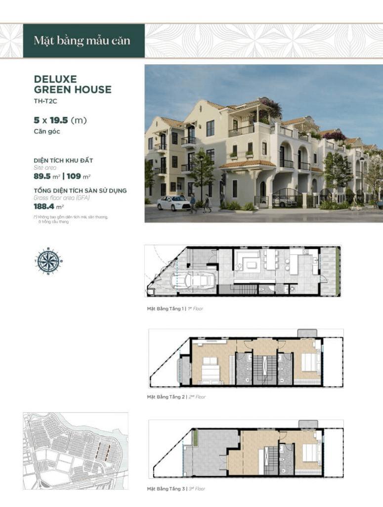 Thiết kế nhà phố liền kề căn góc 5x19.5m, diện tích sàn sử dụng 188.4 m²