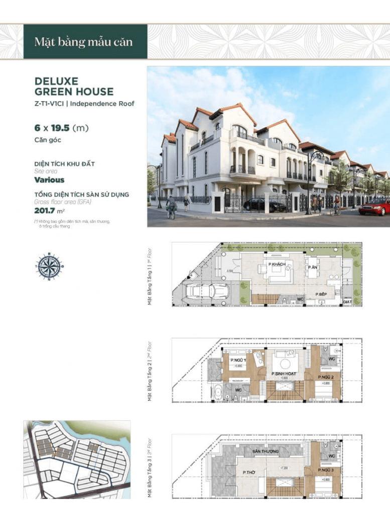Thiết kế nhà phố liền kề căn góc 6x19.5m, diện tích sàn sử dụng 201.7 m²