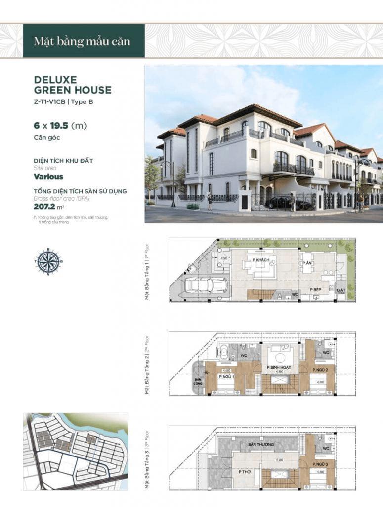 Thiết kế nhà phố liền kề căn góc 6x19.5m, diện tích sàn sử dụng 207.2 m²