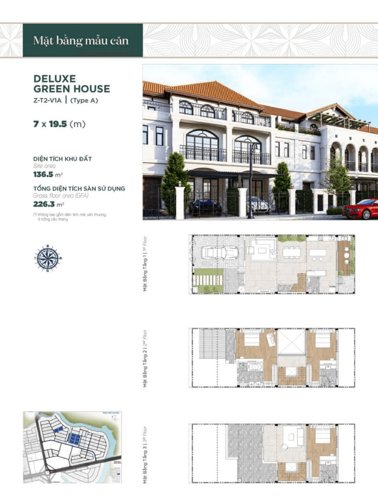 Thiết kế nhà phố liền kề 7x19.5m, diện tích sàn sử dụng 226.3 m² mẫu 1
