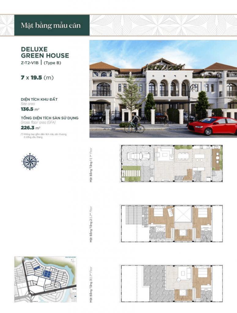 Thiết kế nhà phố liền kề 7x19.5m, diện tích sàn sử dụng 226.3 m² mẫu 2