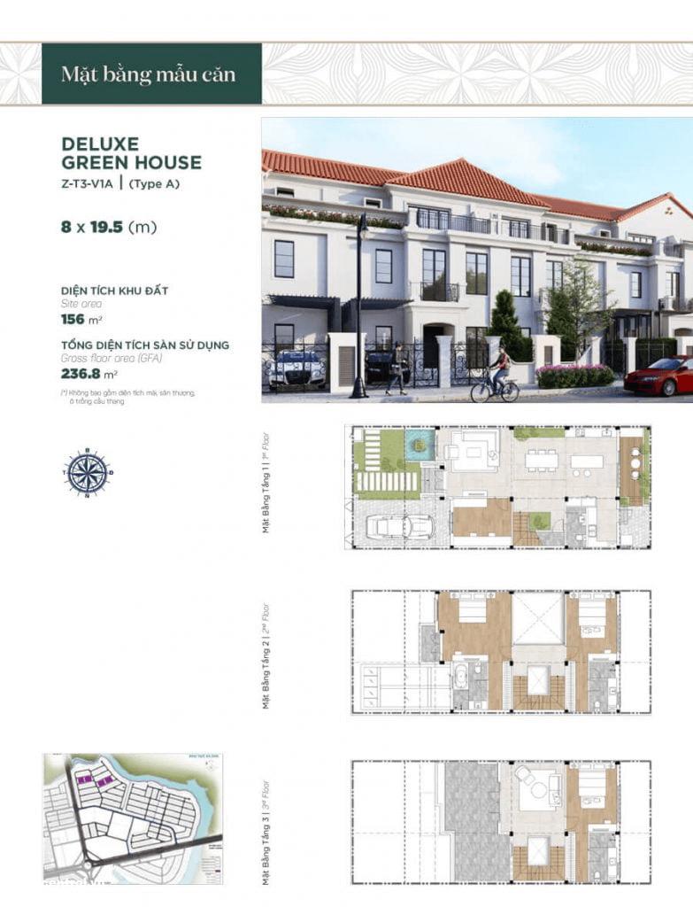 Thiết kế nhà phố liền kề 8x19.5m, diện tích sàn sử dụng 236.8 m² mẫu 1