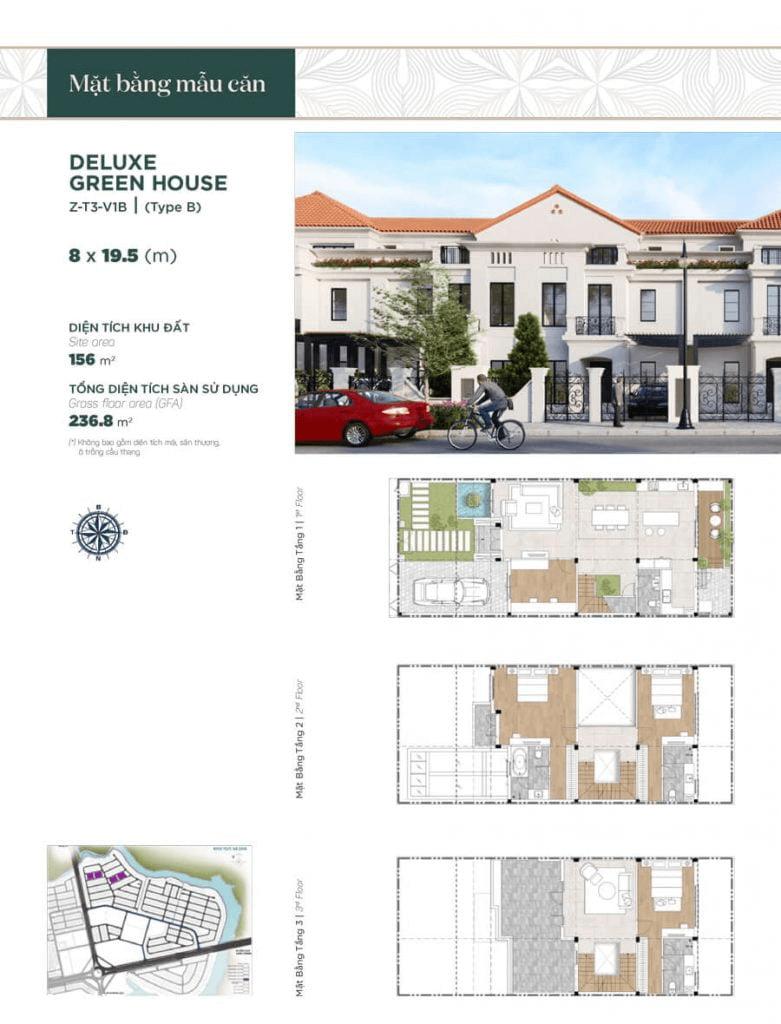 Thiết kế nhà phố liền kề 8x19.5m, diện tích sàn sử dụng 236.8 m² mẫu 2