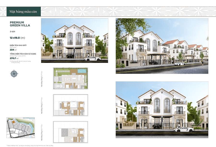 Thiết kế biệt thự song lập 12x19.5m, diện tích mặt sàn sử dụng 270.7m²